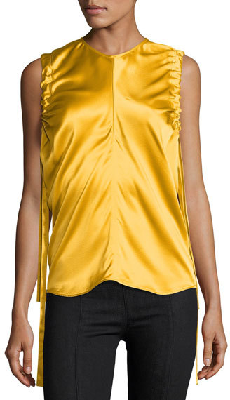 Helmut Lang Helmut Lang Ruched Armhole Sateen Silk Tank, Yellow
