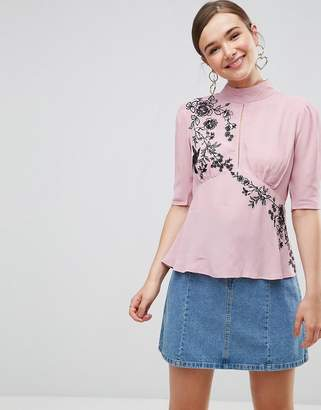 Asos DESIGN Puff Sleeve Embroidered Blouse
