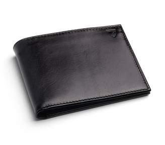 Aspinal of London Billfold Wallet In Smooth Black Cobalt Suede