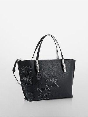 Calvin KleinCalvin Klein Womens Hailey Embossed Logo Studio Tote Black With Metallic