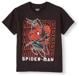 "Spiderman Spider Man Marvel Amazing Repeat"" Short Sleeve Licensed T-Shirt (Little Boys & Big Boys)"