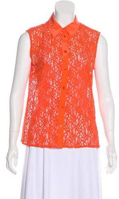Equipment Lace Sleeveless Button-Up Top