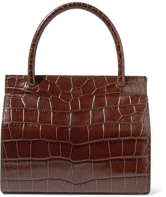 BY FAR - Val Croc-effect Leather Tote - Dark brown
