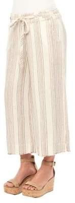 Democracy Striped Linen-Blend Drawstring Pants