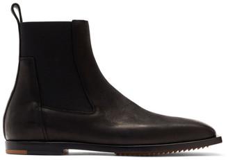 Rick Owens Black Flat Square Toe Chelsea Boots