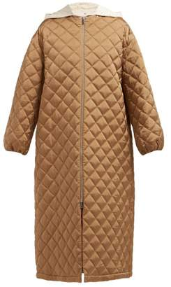 Jil Sander Gara Removable Hood Quilted Maxi Coat - Womens - Brown