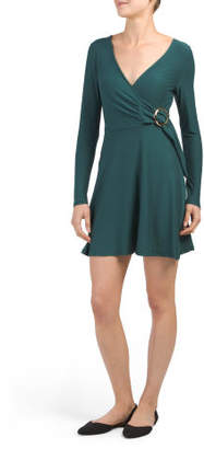 Juniors Wrap Style Belted Dress
