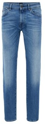 BOSS Regular-fit jeans in comfort-stretch stonewashed denim