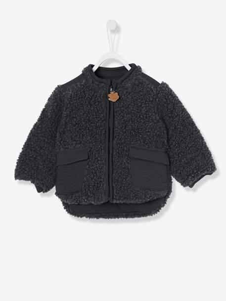 Baby Boys' Plush Coat - grey dark solid