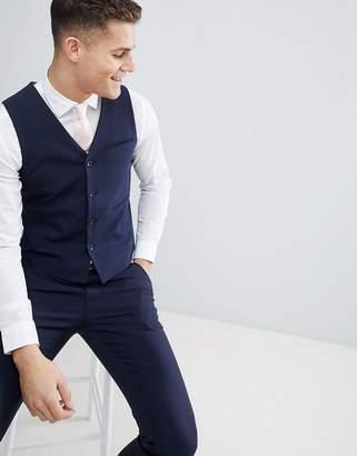 Asos Design DESIGN wedding skinny suit waistcoat in navy