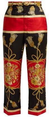 Gucci Intrigue Silk Cropped Trousers - Womens - Black Print