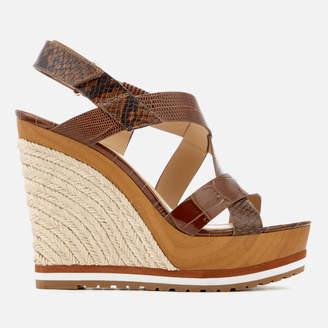 MICHAEL Michael Kors Women's Mackay Embossed Croc/Leather Wedged Sandals - Luggage