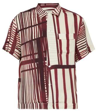 Éditions M.R Editions M.r - Willy Abstract Print Short Sleeved Shirt - Mens - Burgundy White