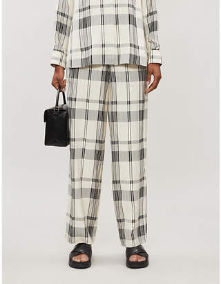 Theory Checked wide-leg woven trousers