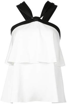 Rachel Zoe sleeveless flared contrast top