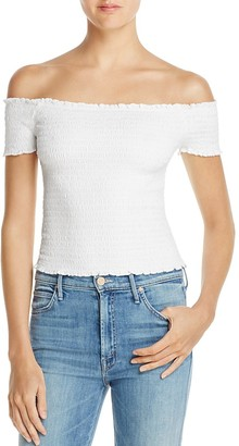 GUESS Maya Smocked Off-the-Shoulder Top $49 thestylecure.com