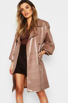 boohoo Dog Tooth Belted High Shine Bonded Mac
