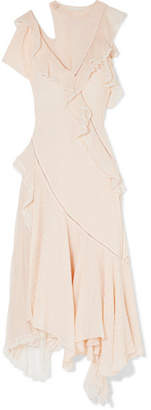 Jonathan Simkhai Cutout Lace-trimmed Swiss-dot Silk-blend Georgette Gown - Baby pink