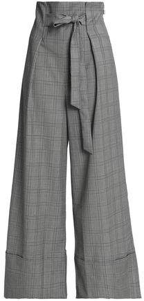 Paper London Belted Prince Of Wales Checked Wool-Blend Wide-Leg Pants