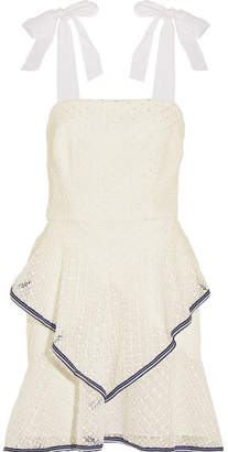 Rebecca Vallance Macarti Ruffled Lace Mini Dress - Cream