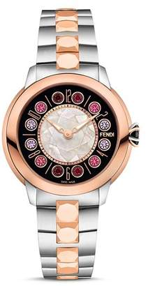 Fendi IShine Rotating Gemstones Two-Tone Watch, 38mm