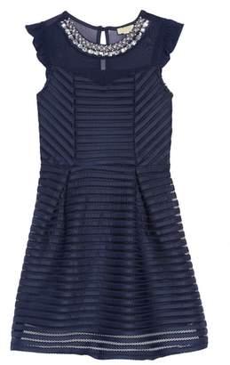 Couture Monteau Mesh Stripe Dress