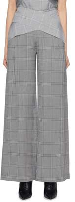 Dion Lee Cross front houndstooth check plaid wide leg pants