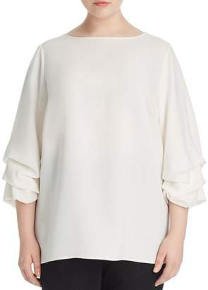 Lafayette 148 New York Plus Winston Ruched-Sleeve Blouse
