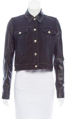 Givenchy Leather-Trimmed Denim Jacket