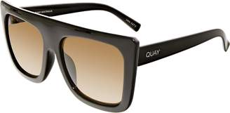 Quay Women's Gradient Café Racer QU-000183-BLK/BRN Square Sunglasses