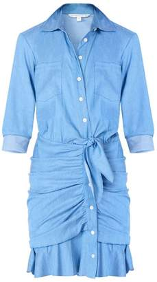 Veronica Beard Valle Chambray Tie-Front Ruffle Dress