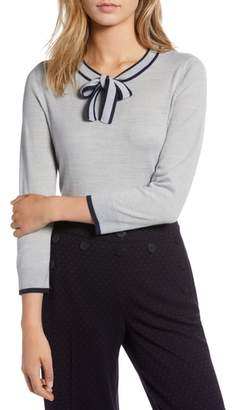 1901 Tipped Tie Neck Wool Blend Sweater