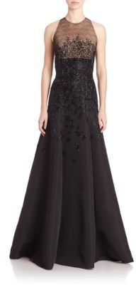 Carmen Marc Valvo Sleeveless Beaded Faille Gown $4,895 thestylecure.com