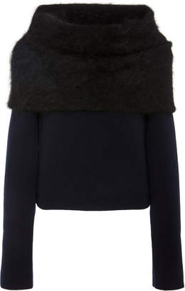 Yeon M'O Exclusive Ileana Angora-Trimmed Wool And Cashmere Blend Sweater