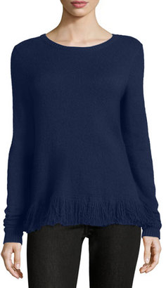 Ralph Lauren Collection Fringe-Trim Cashmere Sweater, Prussian Blue $990 thestylecure.com