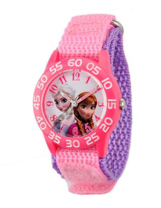 EWatchFactory Disney Frozen Elsa & Anna Girls' Pink Plastic Time Teacher Watch