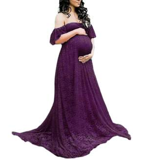 EVERICH Women's Off Shoulder Ruffle Sleeve Lace Maternity Gown Maxi Photography Dress (, XL)