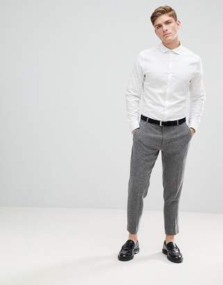 Asos Design Slim Shirt In Herringbone With Double Cuff & Cutaway Collar In White