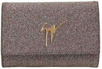 Giuseppe Zanotti Design Glitter Fabric Clutch W/ Logo Detail