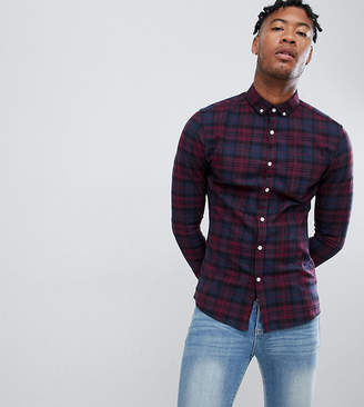 597a56cd69 Asos Design DESIGN Tall skinny check shirt in navy   burgundy