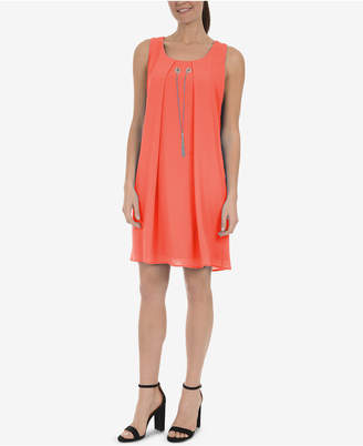 NY Collection Pleated Necklace Dress