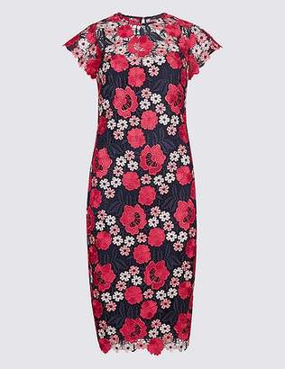 Marks and Spencer Embroidered Lace Short Sleeve Bodycon Dress