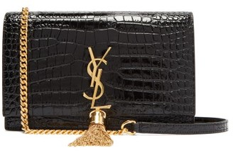 Saint Laurent Kate Crocodile Effect Leather Cross Body Bag - Womens - Black
