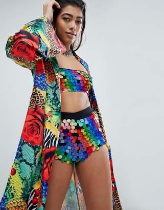 Jaded London Festival Kimono In Carnival Print