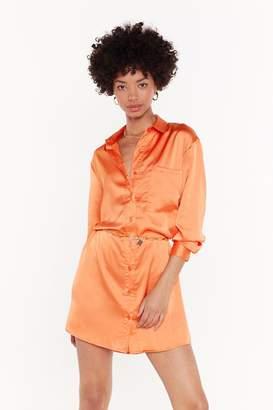 Nasty Gal Womens Smooth Operator Satin Shirt Dress - Orange - 6, Orange