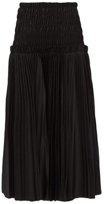 KHAITE Rosa Pleated Cotton Poplin Midi Skirt - Womens - Black
