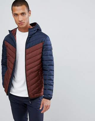 Tom Tailor Hooded Puffer Jacket In Colour Block