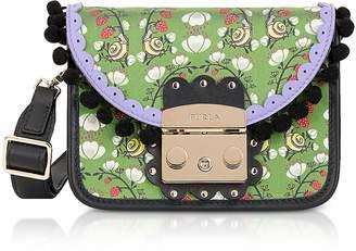 Furla Toni Smeraldo Strawberry Printed Satin Metropolis Serenissima Mini Crossbody Bag