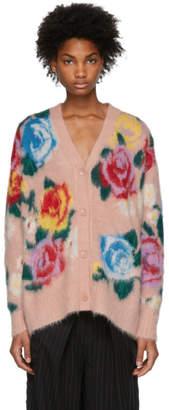 Miu Miu Pink Flowers Long Cardigan
