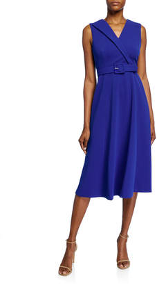 Calvin Klein Belted Fit-&-Flare Midi Dress